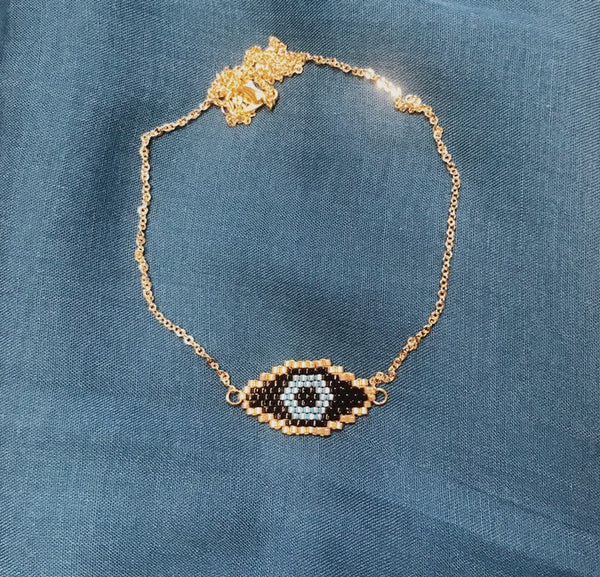 Miyuki Beads Necklace - The Evil Eye - Black and Gold