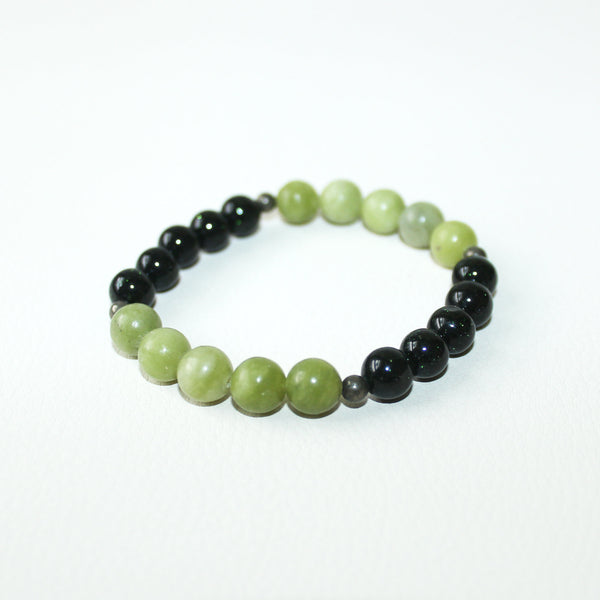No Worries - Green Jasper, Green Goldstone, Pyrite - Gemstone Bracelet