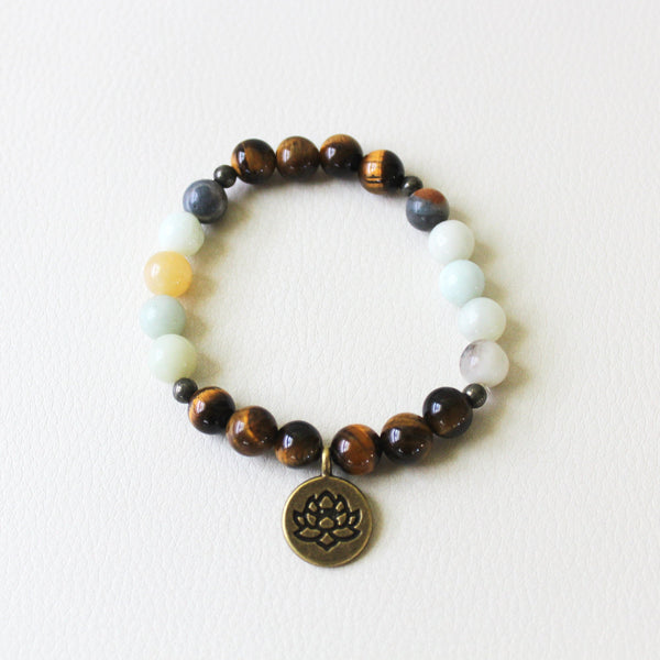 Healthy Communication - Tiger Eye, Amazonite, Pyrite, Lotus - Gemstone Bracelet