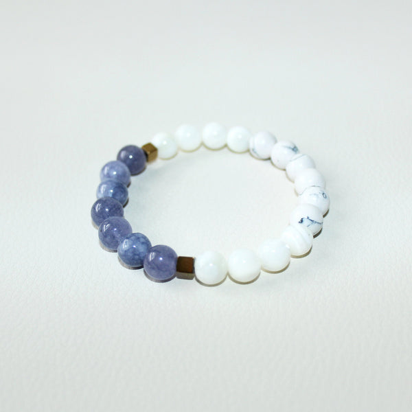 Communicate with your Angels -  Angelite, Howlite, Mother of Pearl, Hematite - Gemstone Bracelet