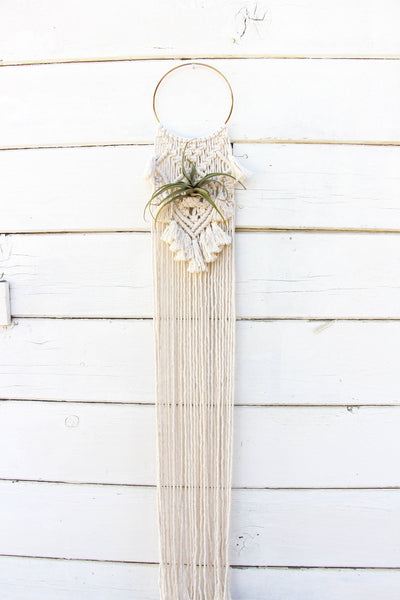 Macrame Air Plant Holder with Tassels - Sophia - White - Bohemian Home Decor Wall Hanging