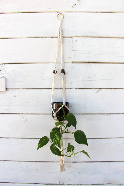 Macrame Plant Holder - Beaded - White - Bohemian Home Decor Wall Hanging