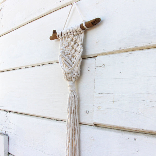 Simple Macrame Air Plant Holder - White - Bohemian Home Decor Wall Hanging