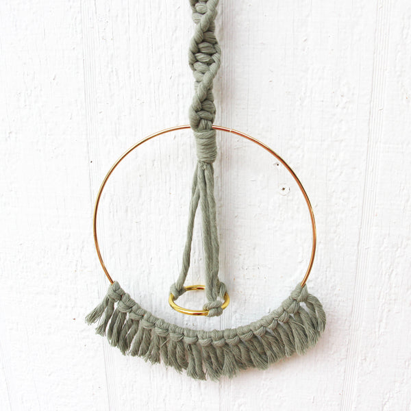 Macrame Air Plant Holder with Tassels - Sage - Bohemian Home Decor Wall Hanging