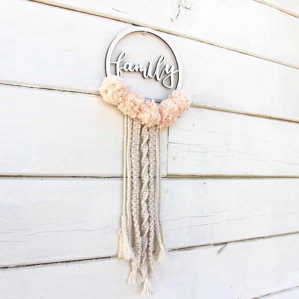Personalized Macrame Wall Hanging - Dream Catcher with Pom Poms - Bohemian Home Decor
