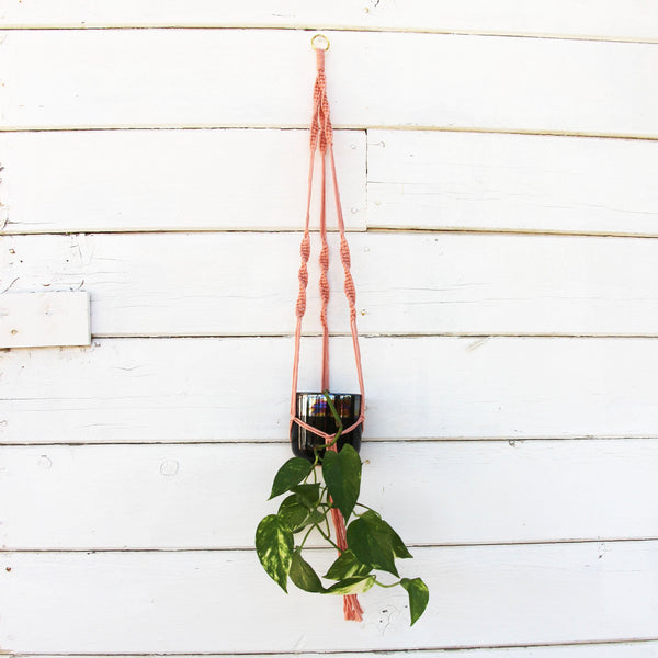 Macrame Plant Holder - Minimalist - Pink - Bohemian Home Decor Wall Hanging