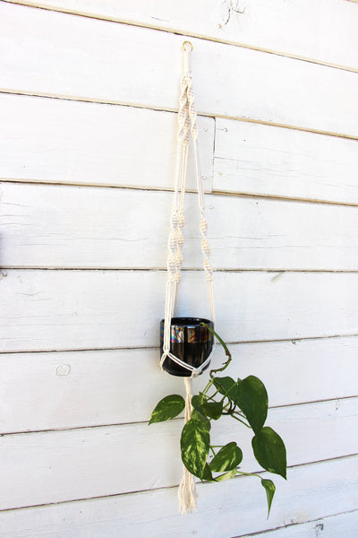 Macrame Plant Holder - Minimalist - White - Bohemian Home Decor Wall Hanging