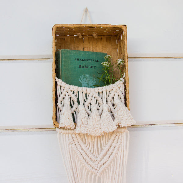 Macrame Plant Holder with Basket and Tassels - Bohemian Home Decor Wall Hanging