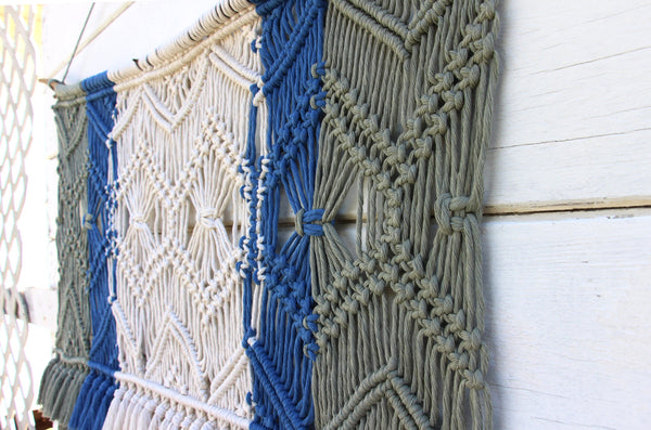 Large Macrame with Tassels - White, Sage, Blue - Bohemian Home Decor Wall Hanging