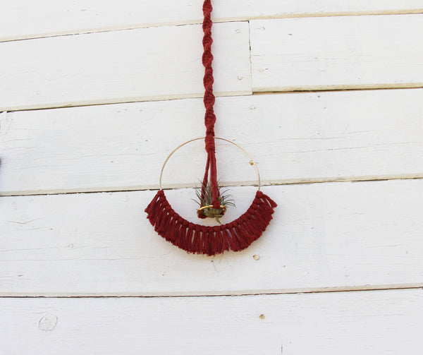 Macrame Air Plant Holder with Tassels - Red - Bohemian Home Decor Wall Hanging