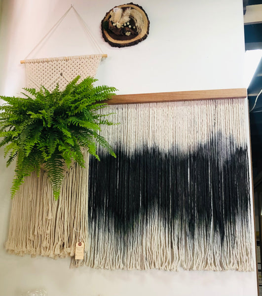 Modern Fiber Wall Art Bohemian Home Decor Macrame Wall Hanging - Mahogany Wood