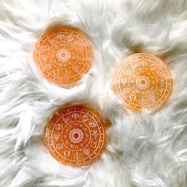 Etched Peach Selenite Disc - Horoscope Wheel - Zodiac Signs - Cleansing & Charging