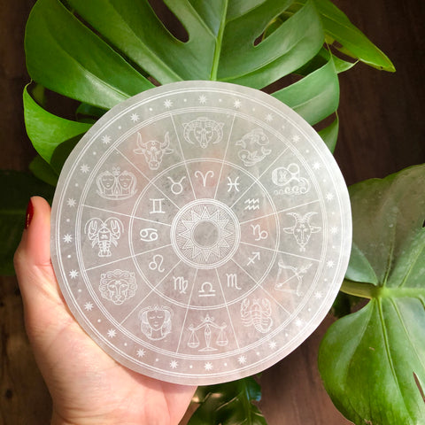 Etched Selenite Disc - Horoscope Wheel - Zodiac Signs - Cleansing & Charging