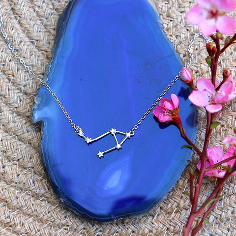 Zodiac Constellation Necklace - Libra - 925 Sterling Silver