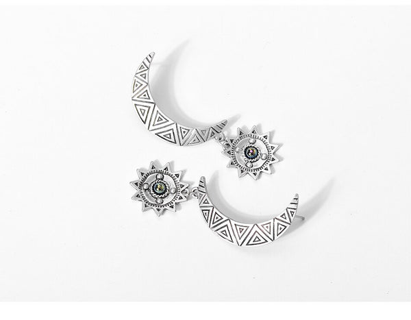 Vintage Moon and Sun Drop Earrings - Silver