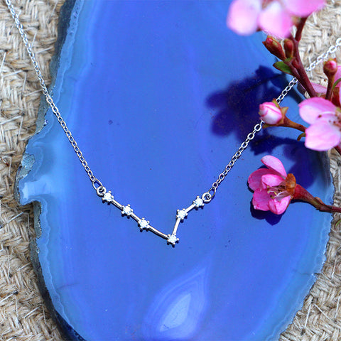 Zodiac Constellation Necklace - Pisces - 925 Sterling Silver