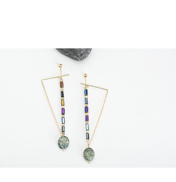 Vintage Drop Earrings with Natural Stones - Gold