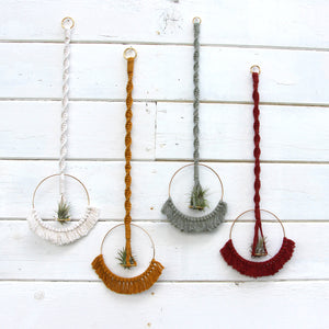 Macrame Air Plant Holder with Tassels - White - Bohemian Home Decor Wall Hanging