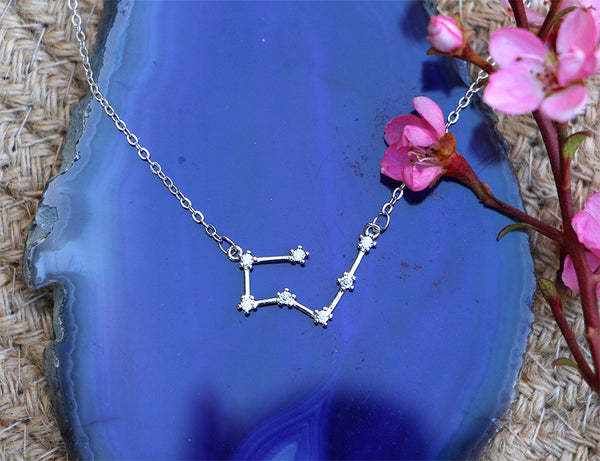 Zodiac Constellation Necklace - Taurus - 925 Sterling Silver