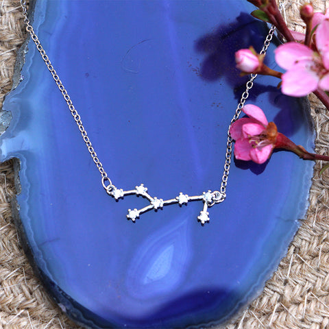 Zodiac Constellation Necklace - Virgo - 925 Sterling Silver