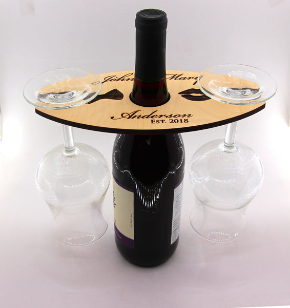 Personalized Wine Caddy & Glass Holder