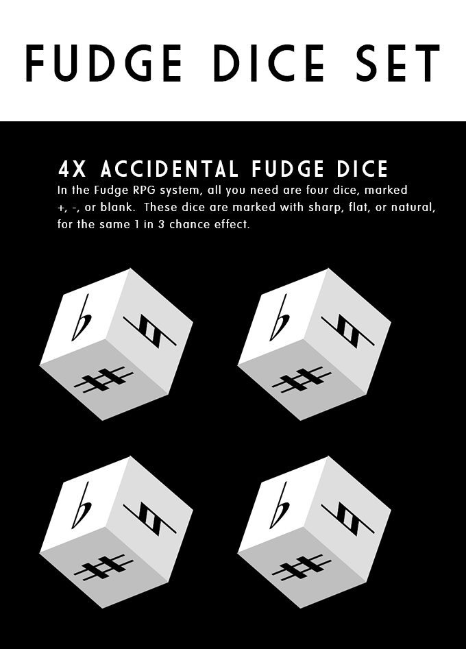 Fudge Dice Set explanation