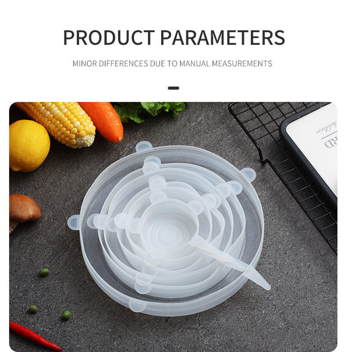 6 Pcs/Set Food Silicone Cover  For Cookware, Foods and Vegetables (Reusable)