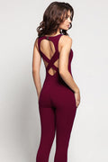 Cold Shoulder Maroon Sleeveless Jumpsuit unitard