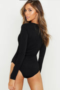 Key Hole Neck Black Bodysuit