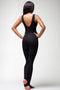 Classic Mid Back Black Sleeveless Jumpsuit unitard