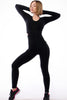 Side cut Sexy Black Full Sleeves Jumpsuit unitard