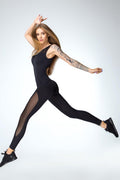 Mesh Black Sleeveless Jumpsuit unitard