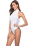 Round neckless Women's Sexy Backless White Bodysuit