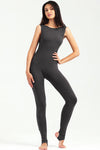 Classic Mid Back Cut Black Sleevelesss Jumpsuit unitard