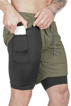 Pro Training Shorts Security Pockets & Towel Loop (Olive)