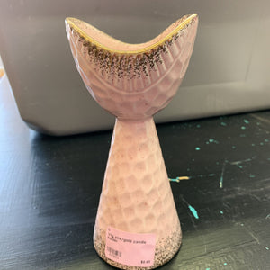Vtg pink/gold candle holder