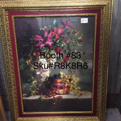 Home interior red/gold framed print cherub/ flowers