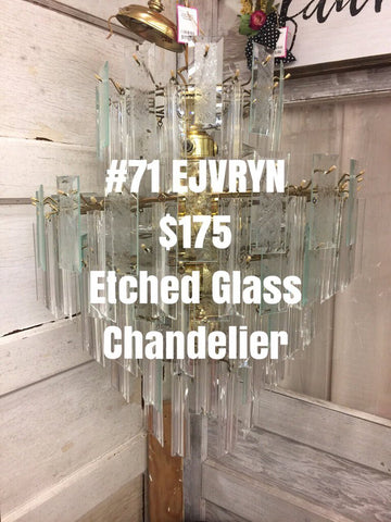 Large Modern  Etched Glass Chandelier