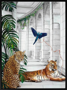 Big Cat Club Framed Canvas Print 75 x 100