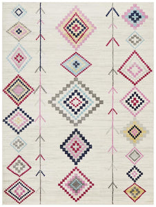 Pink, blue and white patterned rug