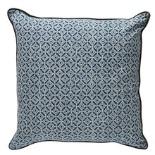 Load image into Gallery viewer, Blue patterned velvet cushion