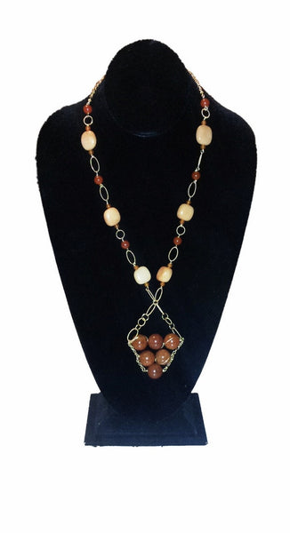 Wire Wrapped Carnelian Beads on Vermeil Chain