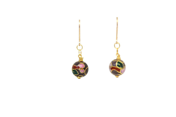 Handmade 10mm Cloisonne Beads on Gold Filled Leverbacks