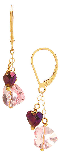 Wholesale Swarovski Double Heart Drop Earrings