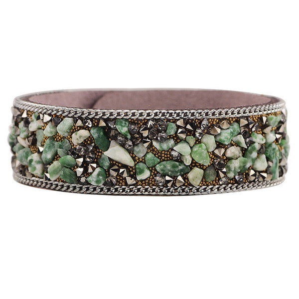 Korean Velvet Crushed Green Stone Cuff Bracelets