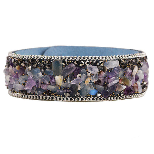 Korean Velvet Crushed Blue Stone Cuff Bracelets