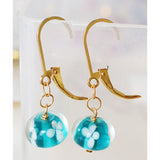 Handmade Lampwork Beads on Gold Filled Leverbacks  (aqua flowers)