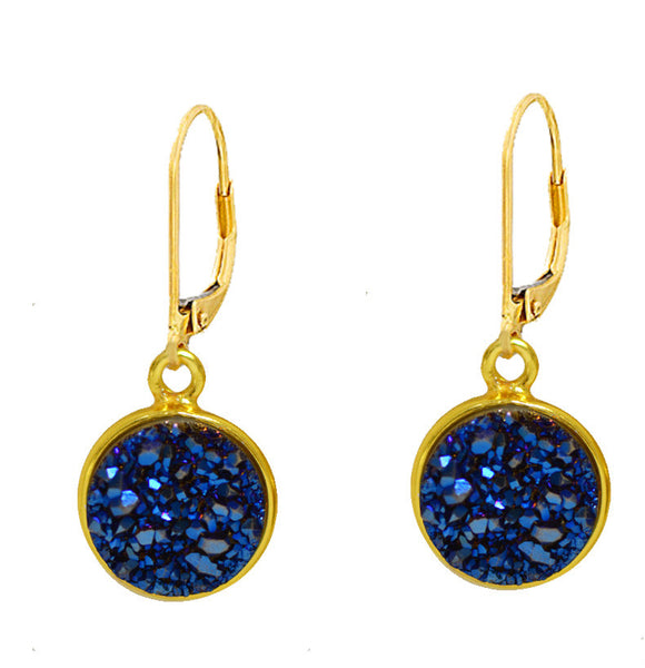 11mm Vermeil Bezel Druzy Stone Earrings on Gold Filled Leverback (cobalt blue)