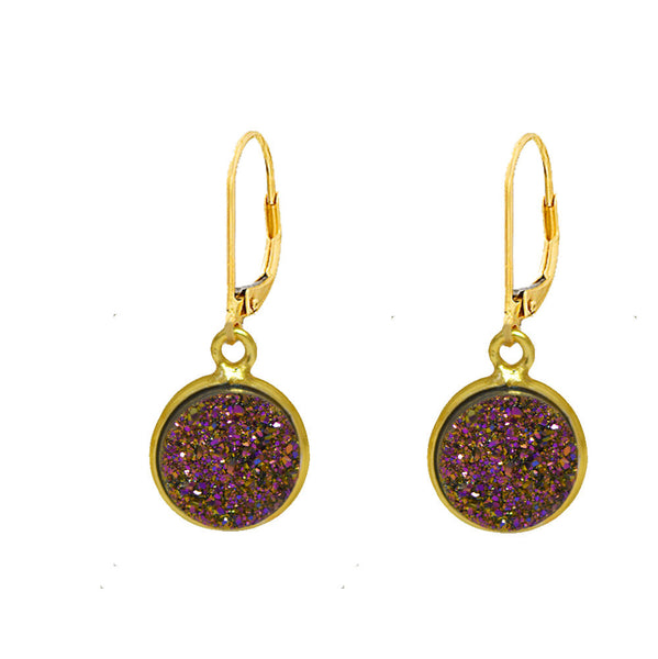 11mm Vermeil Bezel Druzy Stone Earrings on Gold Filled Leverback