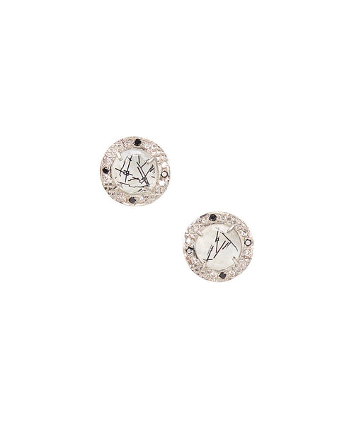 15mm Sterling Silver Halo Bezel Stud Earrings (black rutile)
